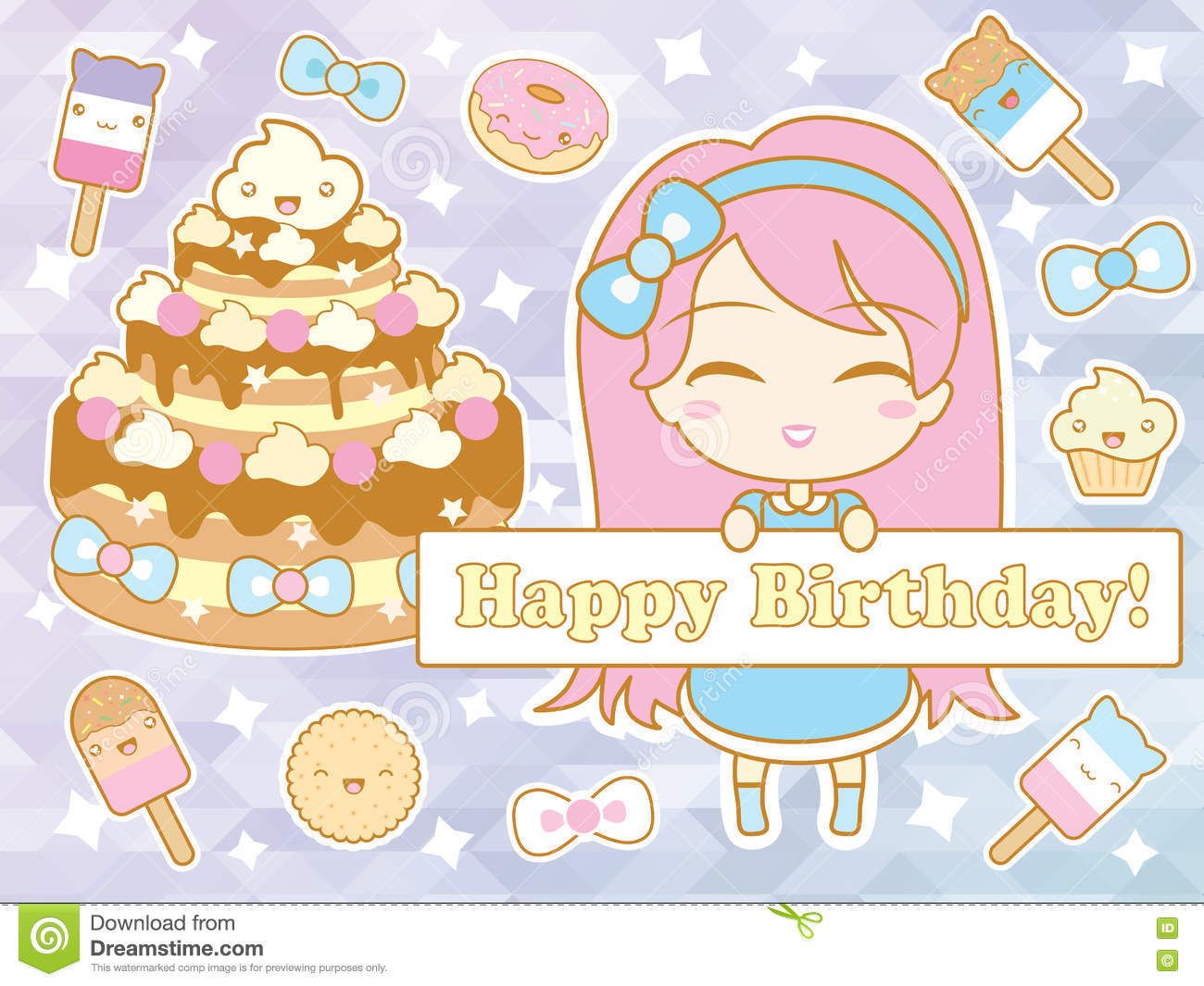 Happy Birthday Card With Cute Smiling Cartoon Chibi Girl Stock