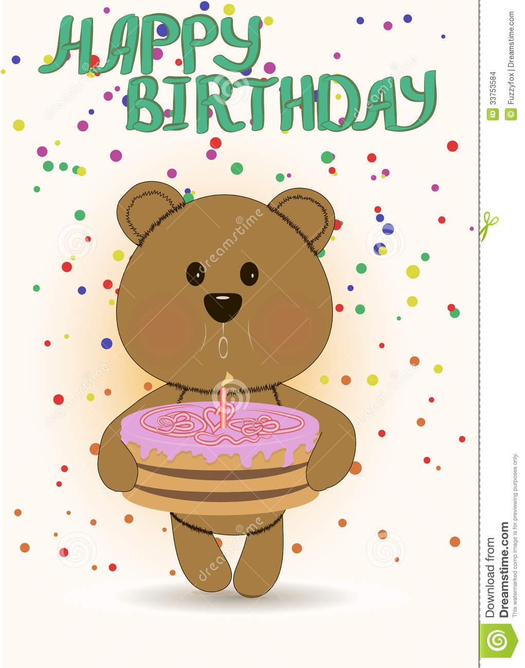 Happy Birthday Card With Cute Teddy Bear Stock Illustration