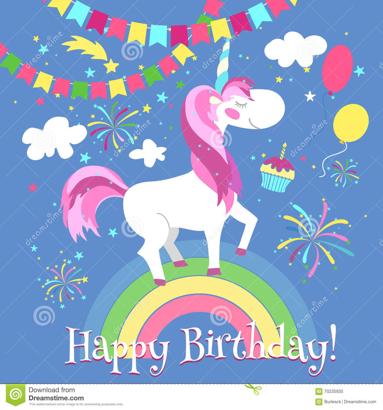 Happy Birthday Card With Cute Unicorn Vector Template On Rainbow Fairytale Fantasy Illustration