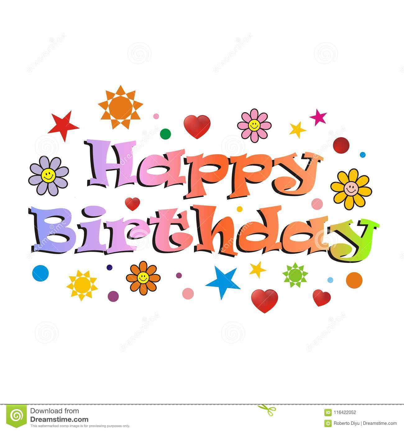 Happy Birthday Card  Design Of Colorful Letter Stock Vector