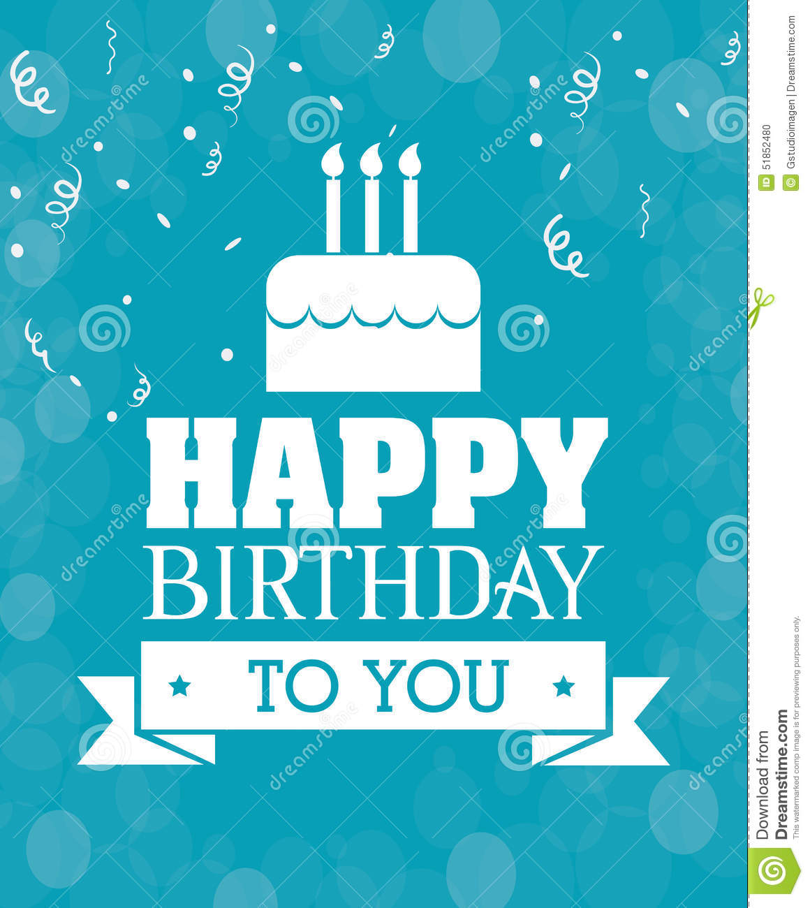 Happy Birthday Card Design. Stock Vector - Image: 51852480