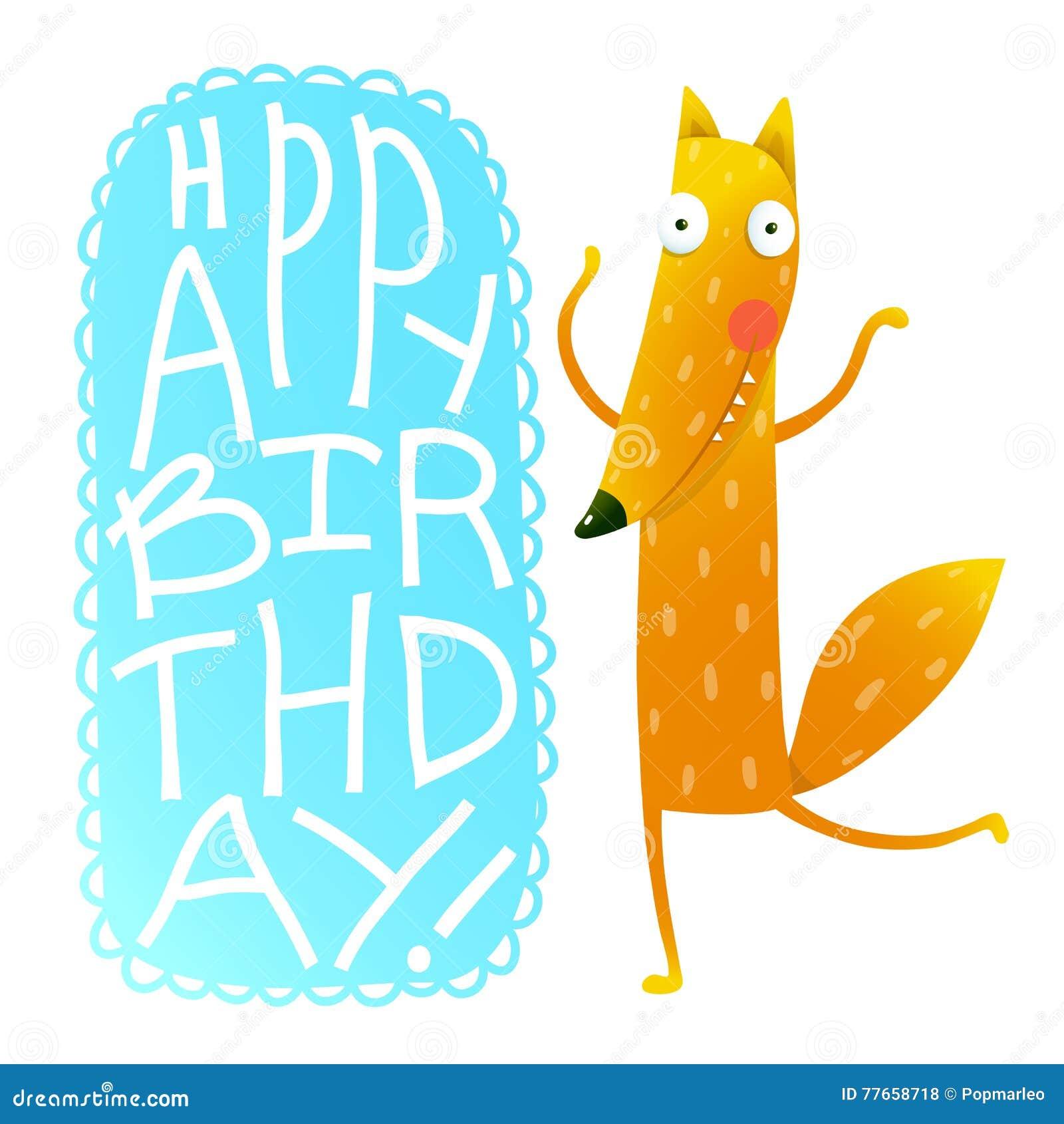 Happy Birthday Card Design With Cute Cartoon Fox