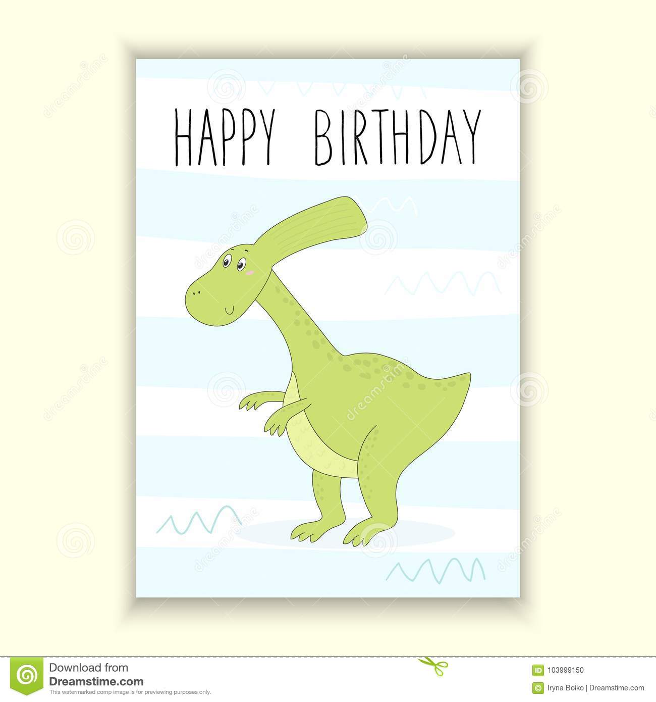 Happy Birthday Card Design Cute Hand Drawn With Dinosaur Printable Template