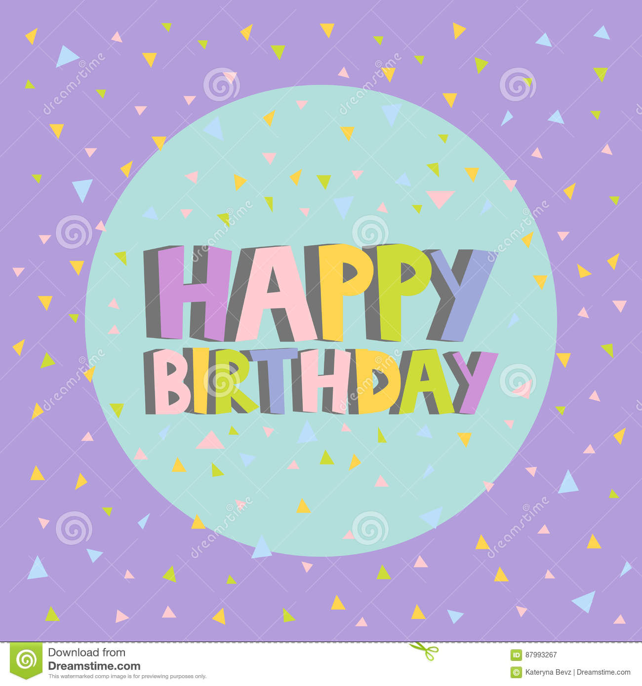 Happy Birthday Card Design Letters Confetti Background