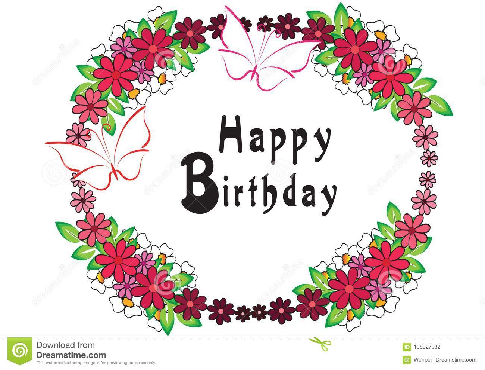 Happy Birthday Card Design Vector Drawing