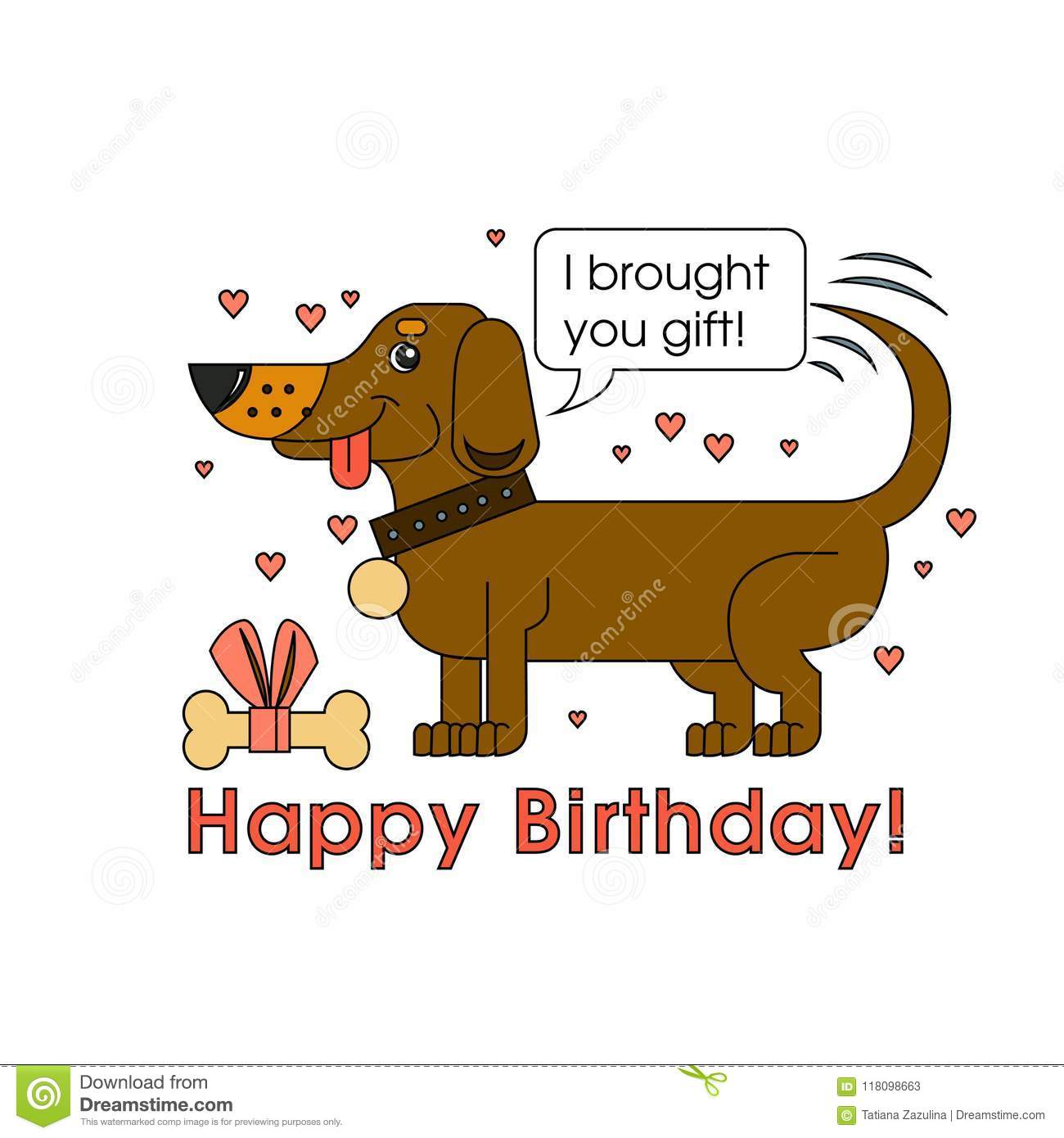 A Little Cute Dog Of The Breed Dachshund Congratulates On His Birthday And Brought Best Gift Greeting Card For
