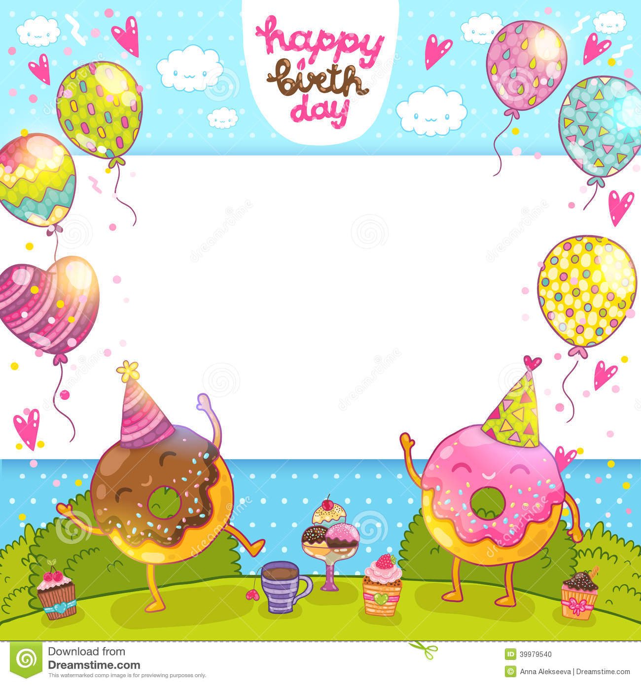 Happy Birthday Card With Donuts And Cupcakes Stock Vector