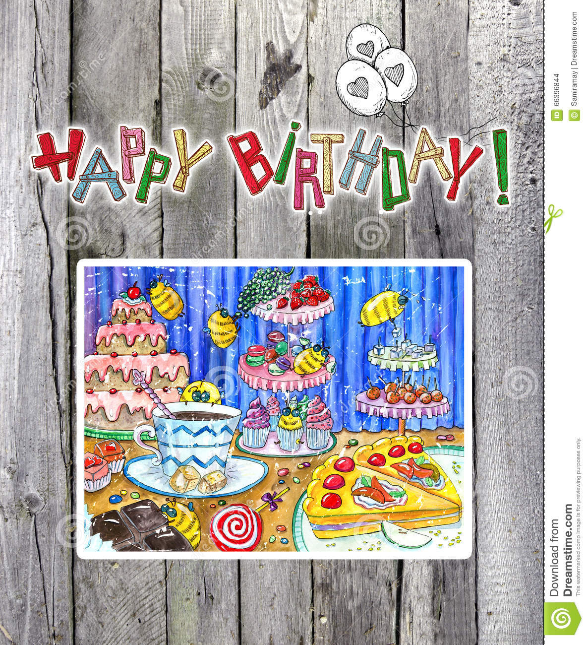 Happy Birthday Card With Drawing On Planks Stock Illustration