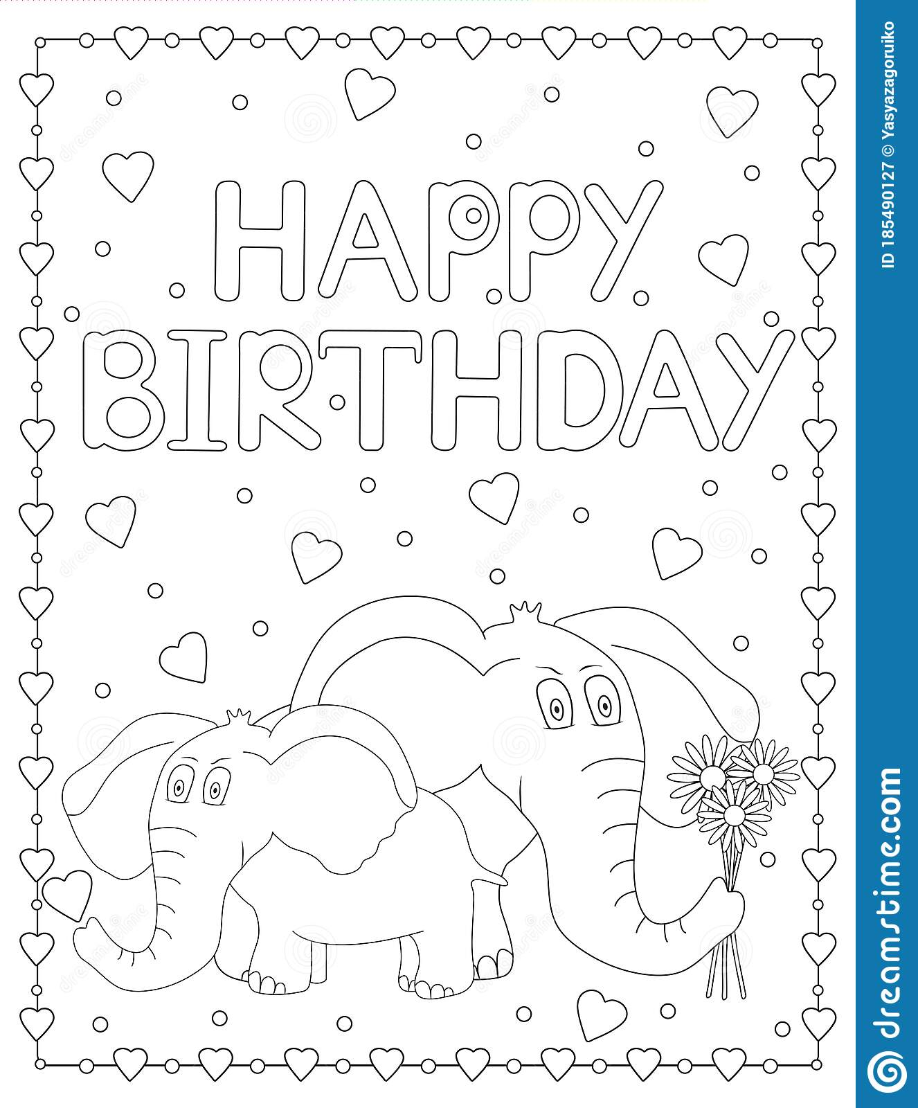 Happy Birthday Card With Elephants And Hearts. Coloring ...