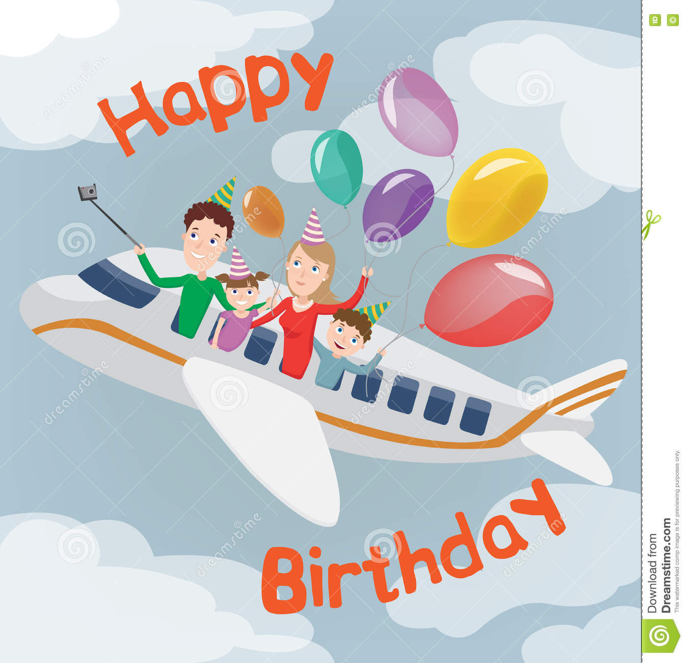 Happy Birthday Card Family In Plane Happy Family With Balloons – Family Birthday Cards