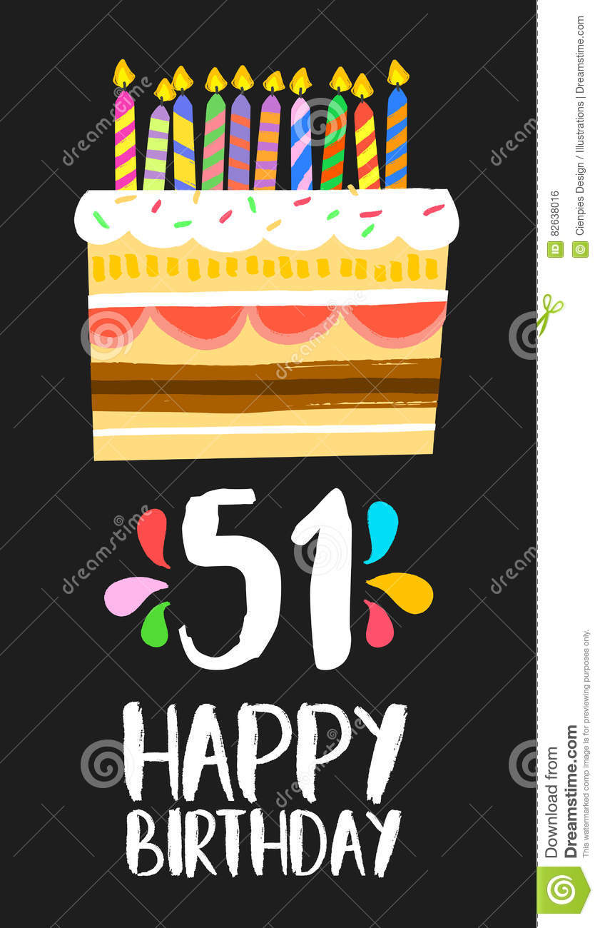 Happy Birthday Number 51 Greeting Card For Fifty One Years In Fun Art Style With Cake And Candles Anniversary Invitation Congratulations Or Celebration