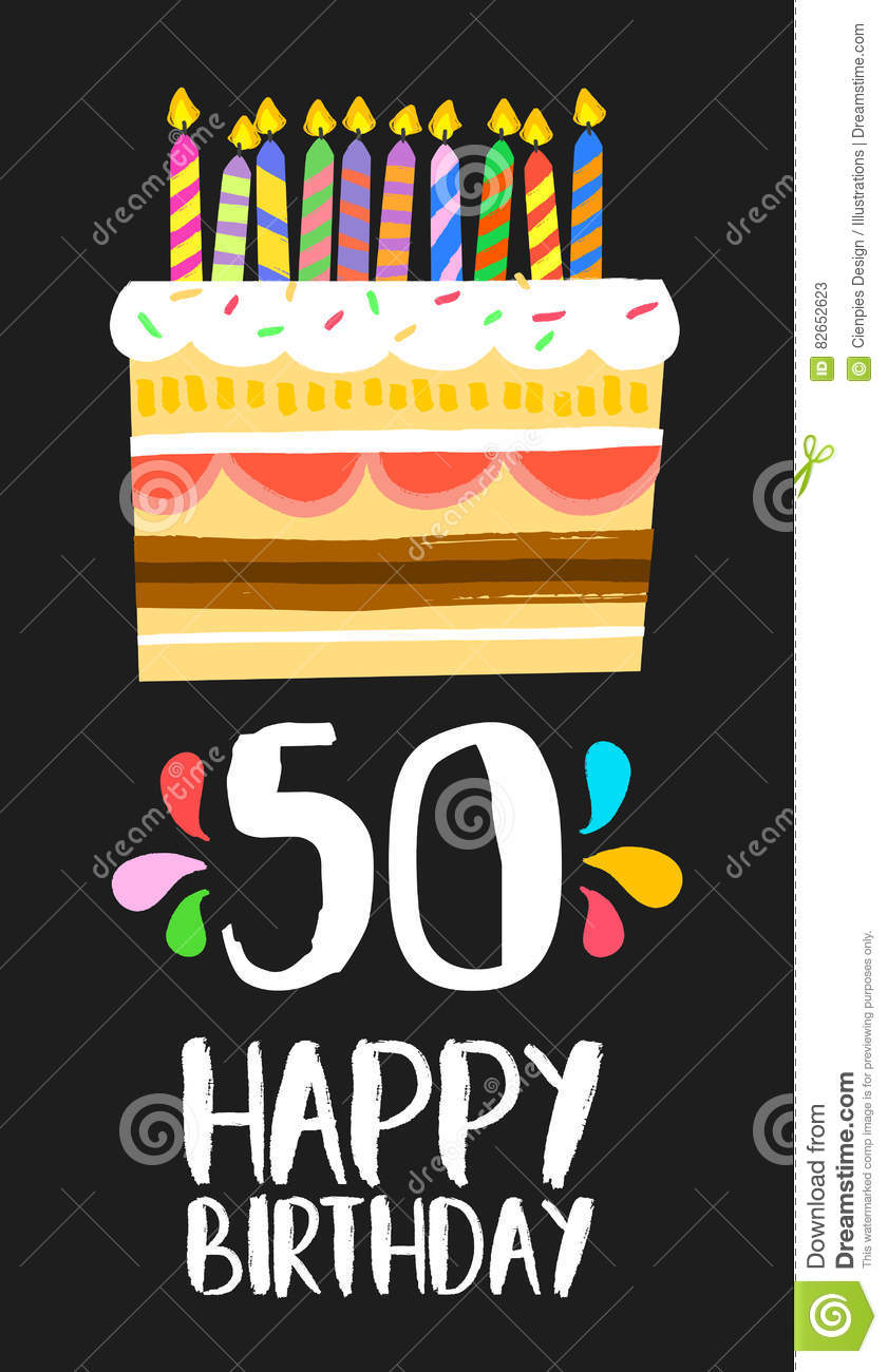 Happy Birthday Number 50 Greeting Card For Fifty Years In Fun Art Style With Cake And Candles Anniversary Invitation Congratulations Or Celebration