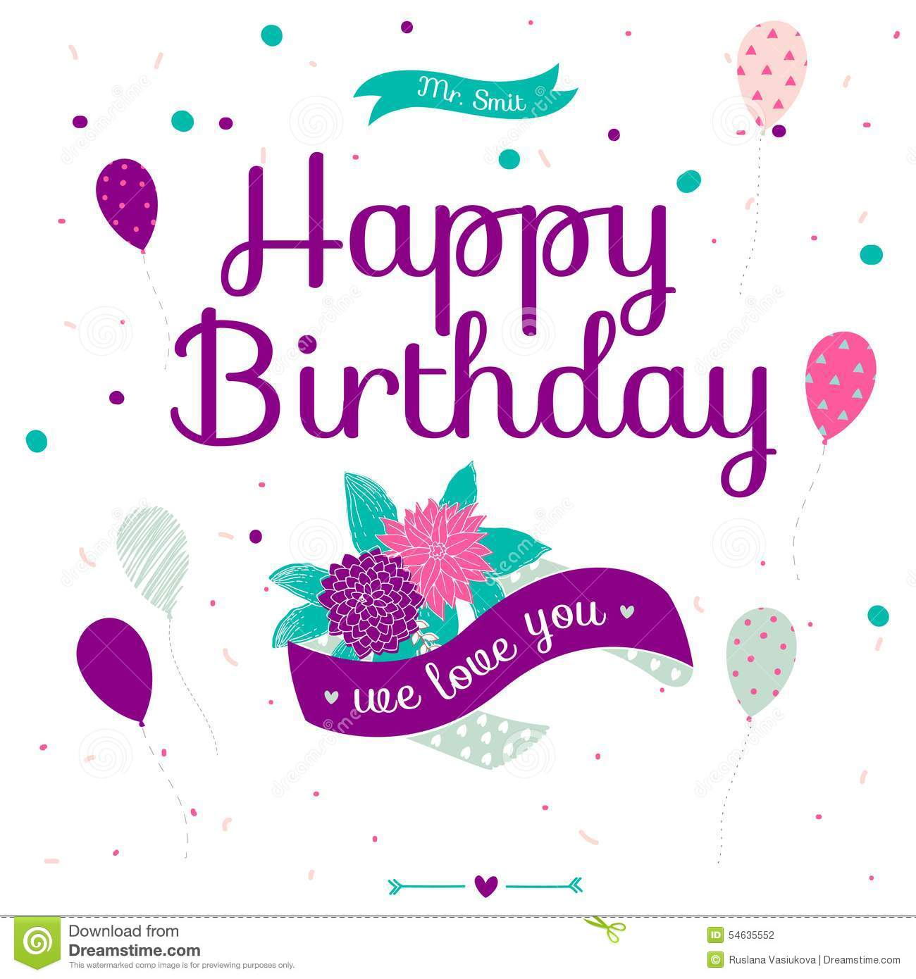 Happy Birthday Card With Flowers Balloons And Ribbons Stock Vector