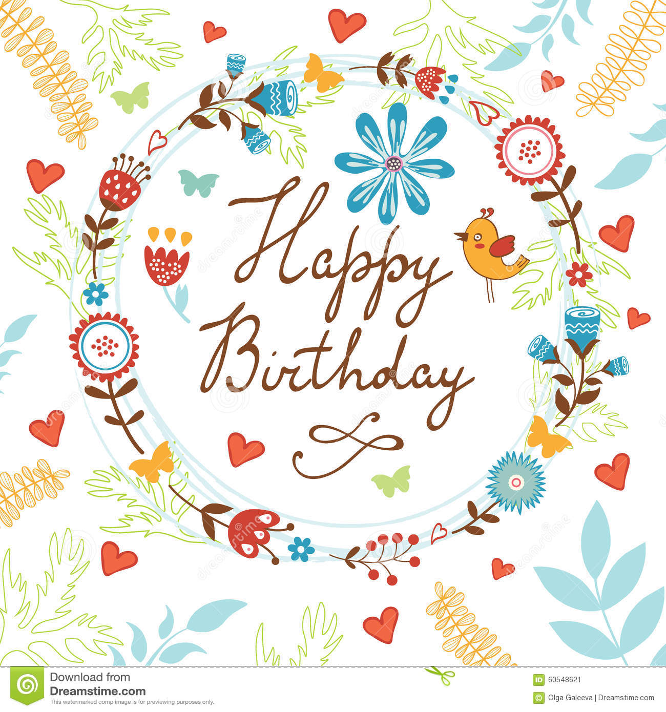 Happy Birthday Card With Flowers, Birds And Stock Vector