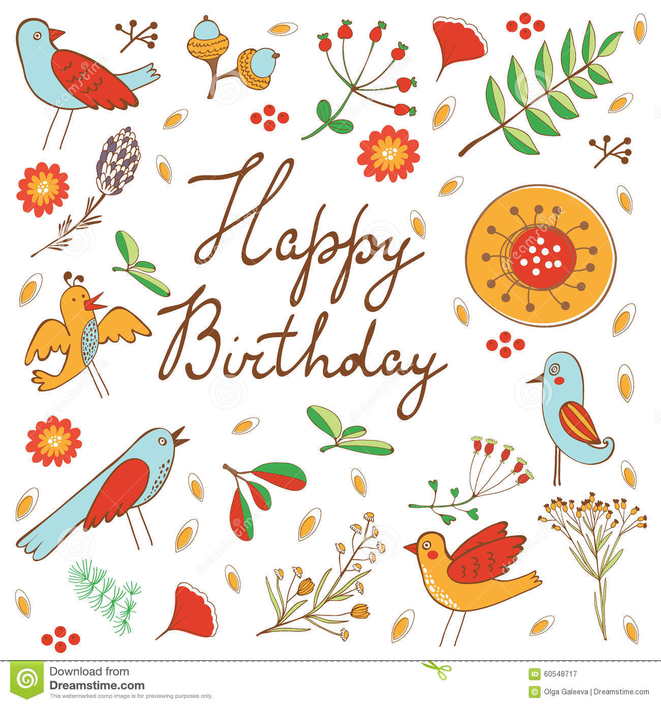 Happy Birthday Card With Flowers And Birds Stock Vector