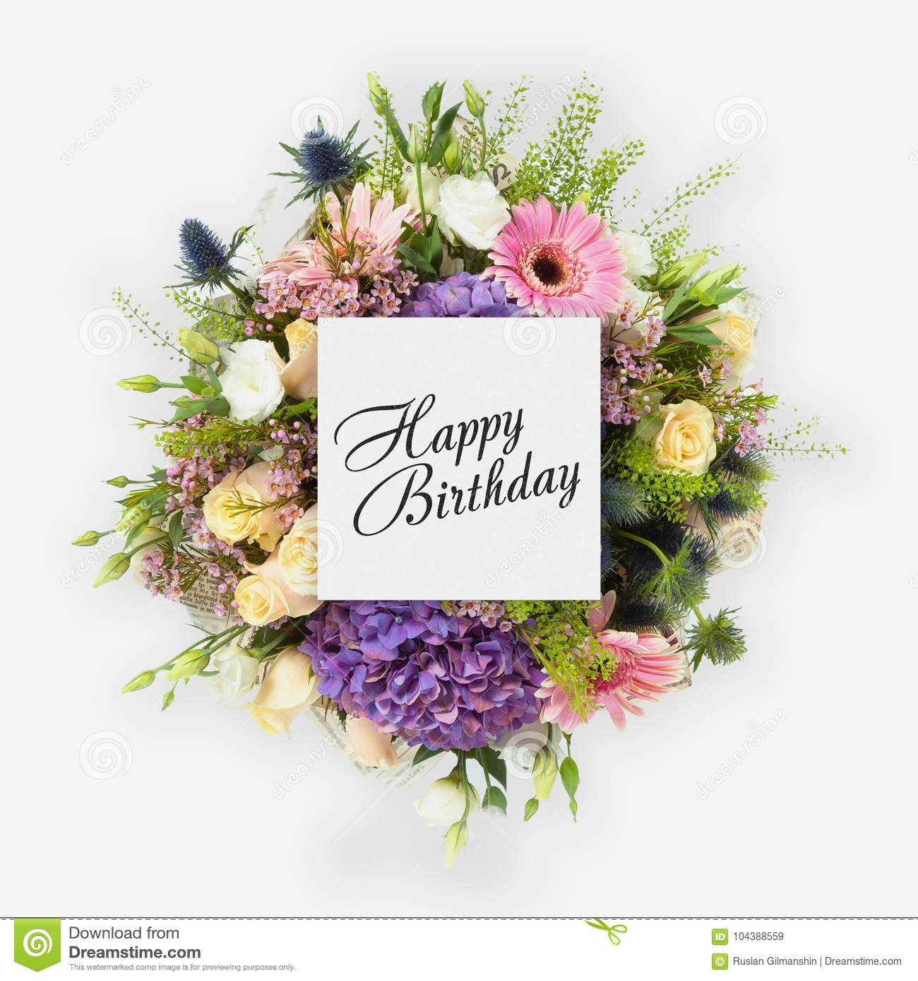 Happy birthday card with flowers flat lay stock image image of happy birthday card with flowers flat lay izmirmasajfo Image collections