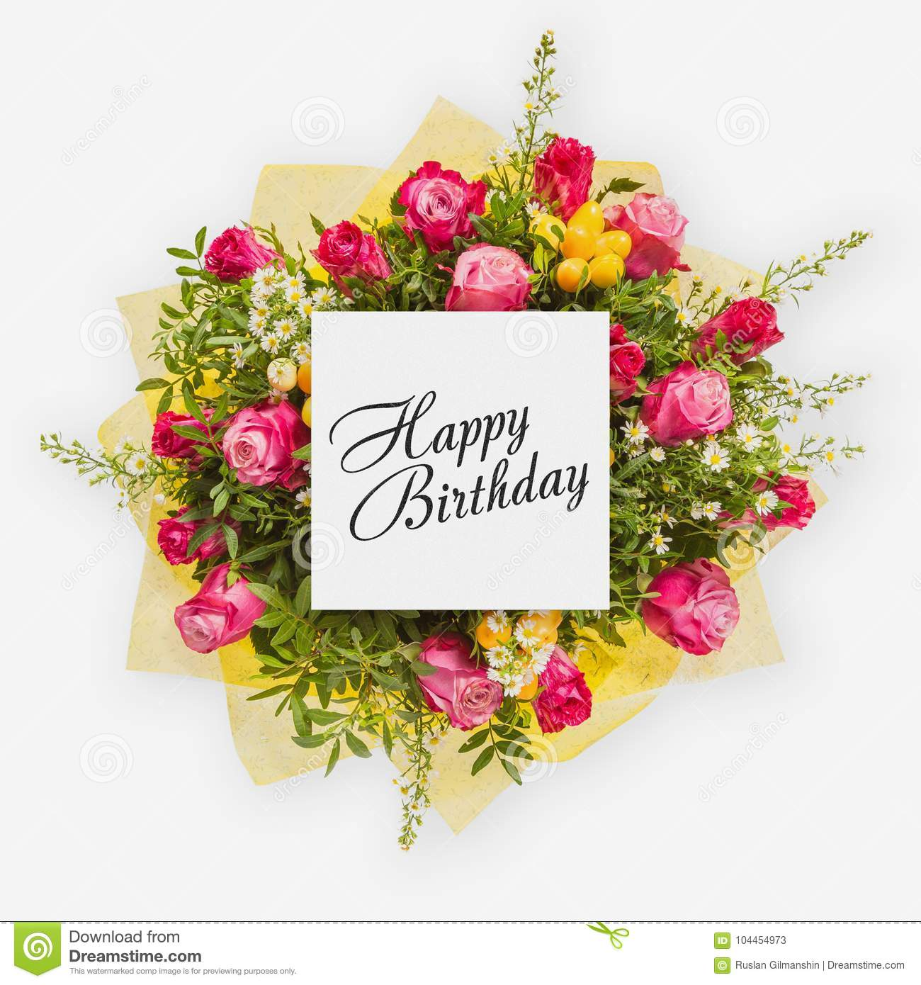 Happy Birthday Card With Flowers Flat Lay Stock Image Image Of
