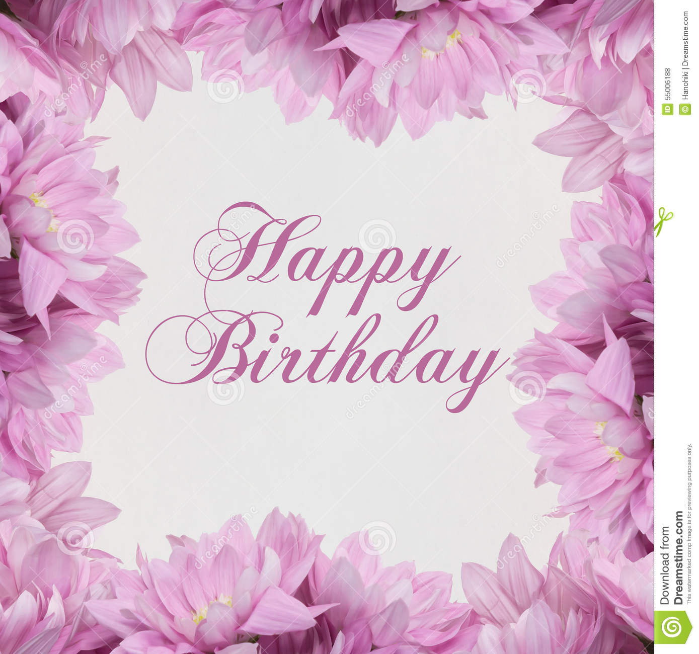 Happy Birthday Card With Flowers Stock Illustration - Illustration of blooming, card: 55006188