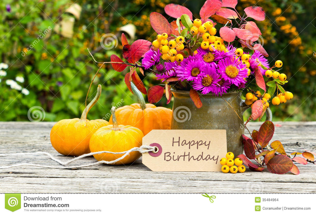 Happy birthday stock photo image of yellow leaves flowers 35484964 birthday card with flowers and pumpkin izmirmasajfo