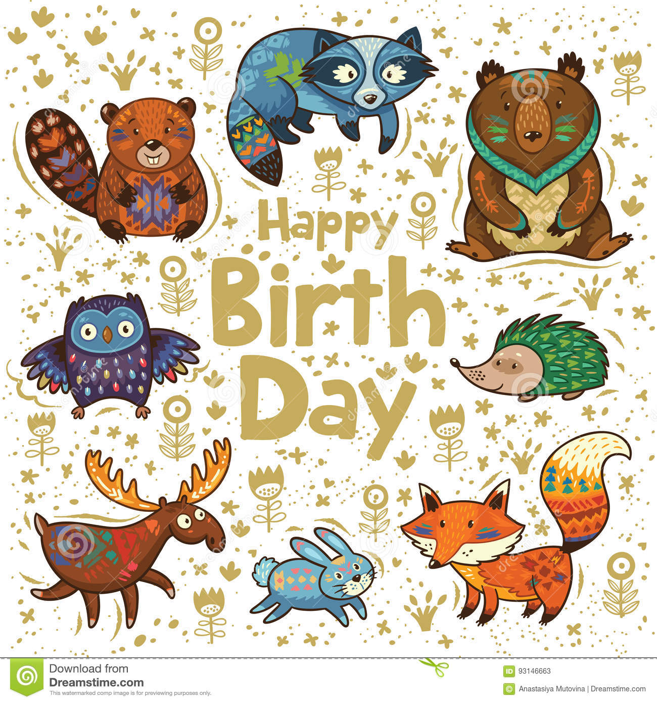 happy birthday card stock vector illustration of deer 93146663