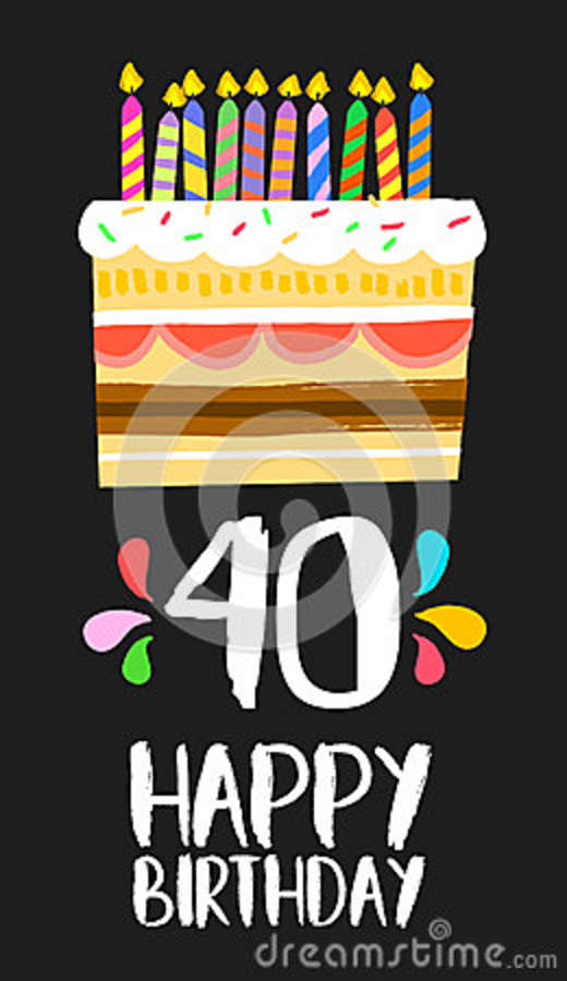 Happy Birthday Number 40 Greeting Card For Forty Years In Fun Art Style With Cake And Candles Anniversary Invitation Congratulations Or Celebration