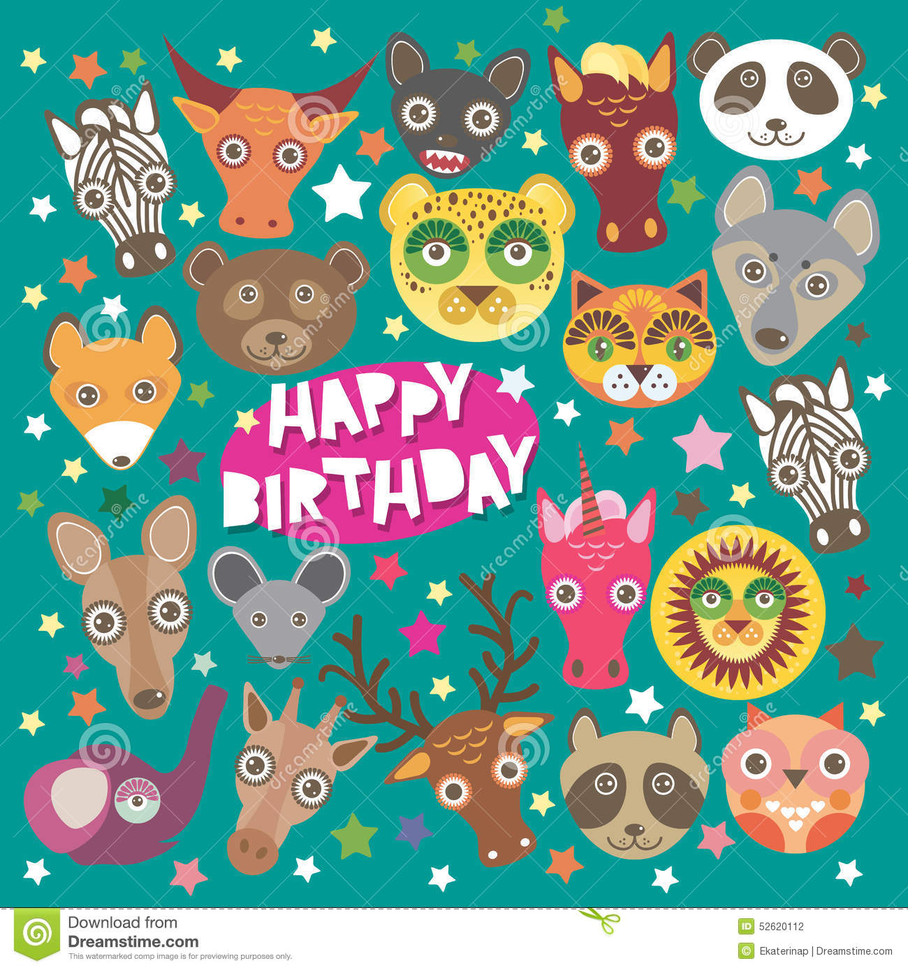 Happy Birthday Card Funny Animals Muzzle Stock Vector
