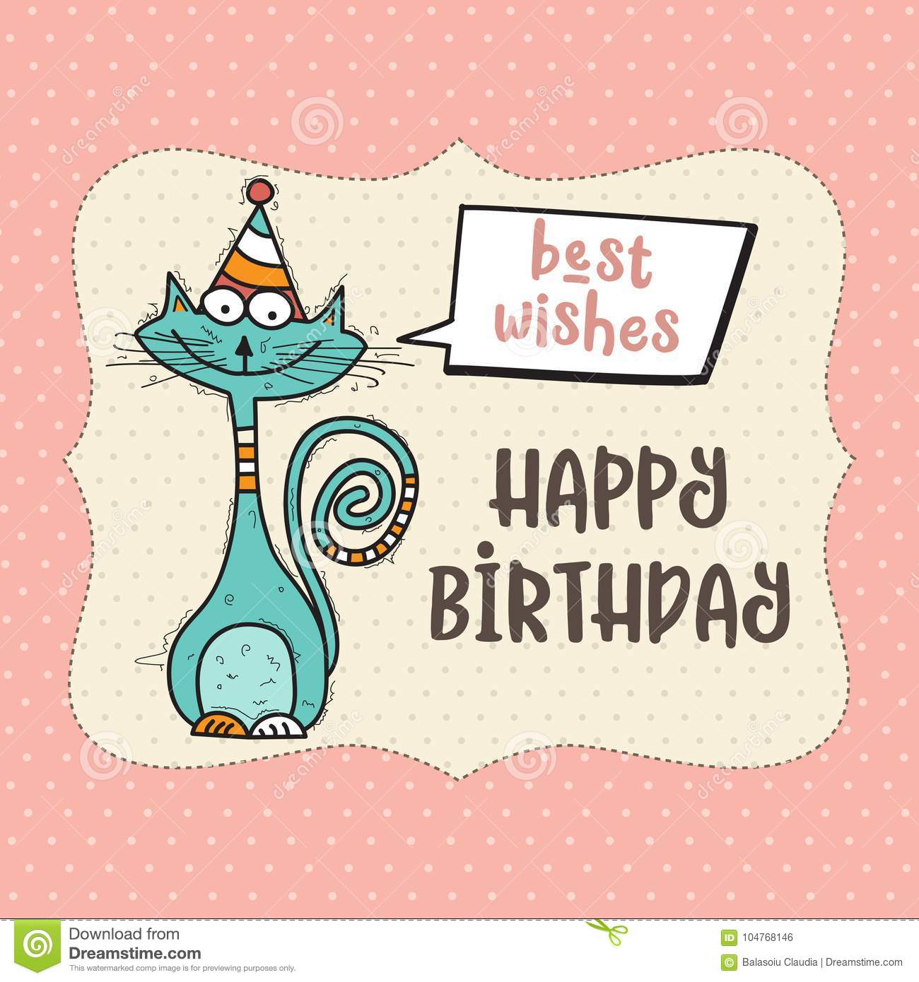 Happy Birthday Card With Funny Doodle Cat