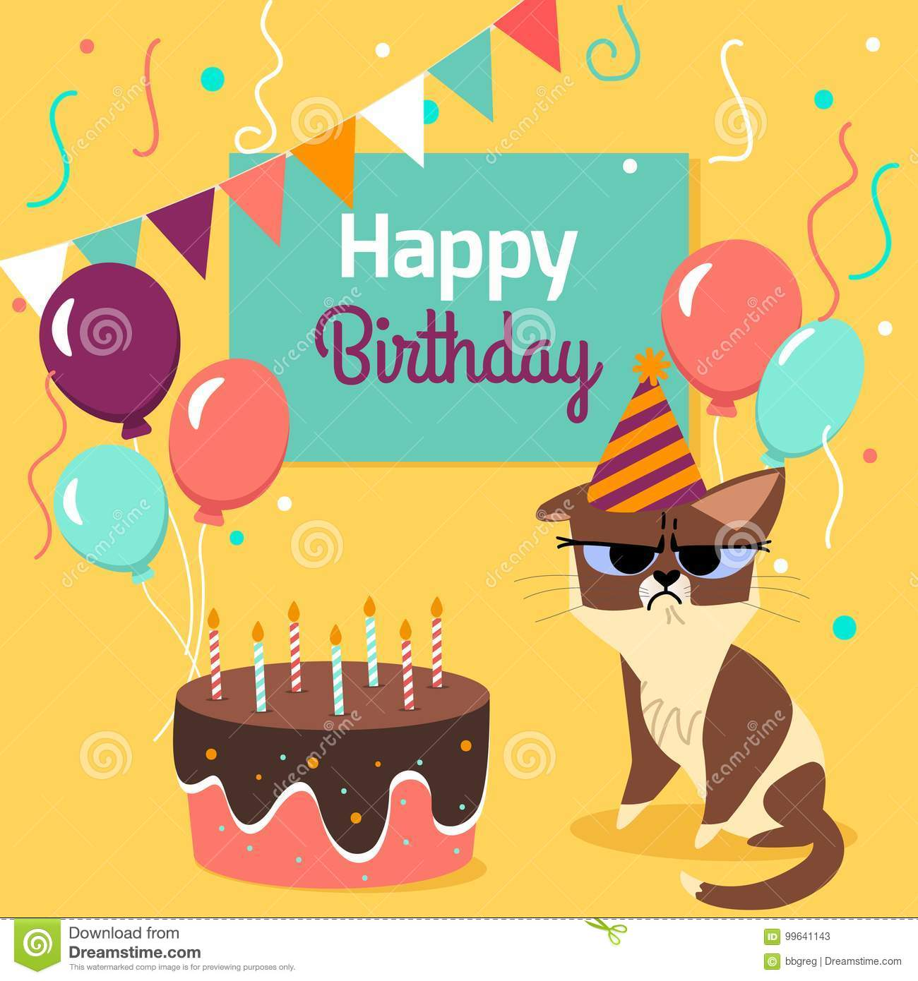 Happy Birthday Card With Funny Grumpy Cat Cake Colorful Balloons On Bright Yellow Background