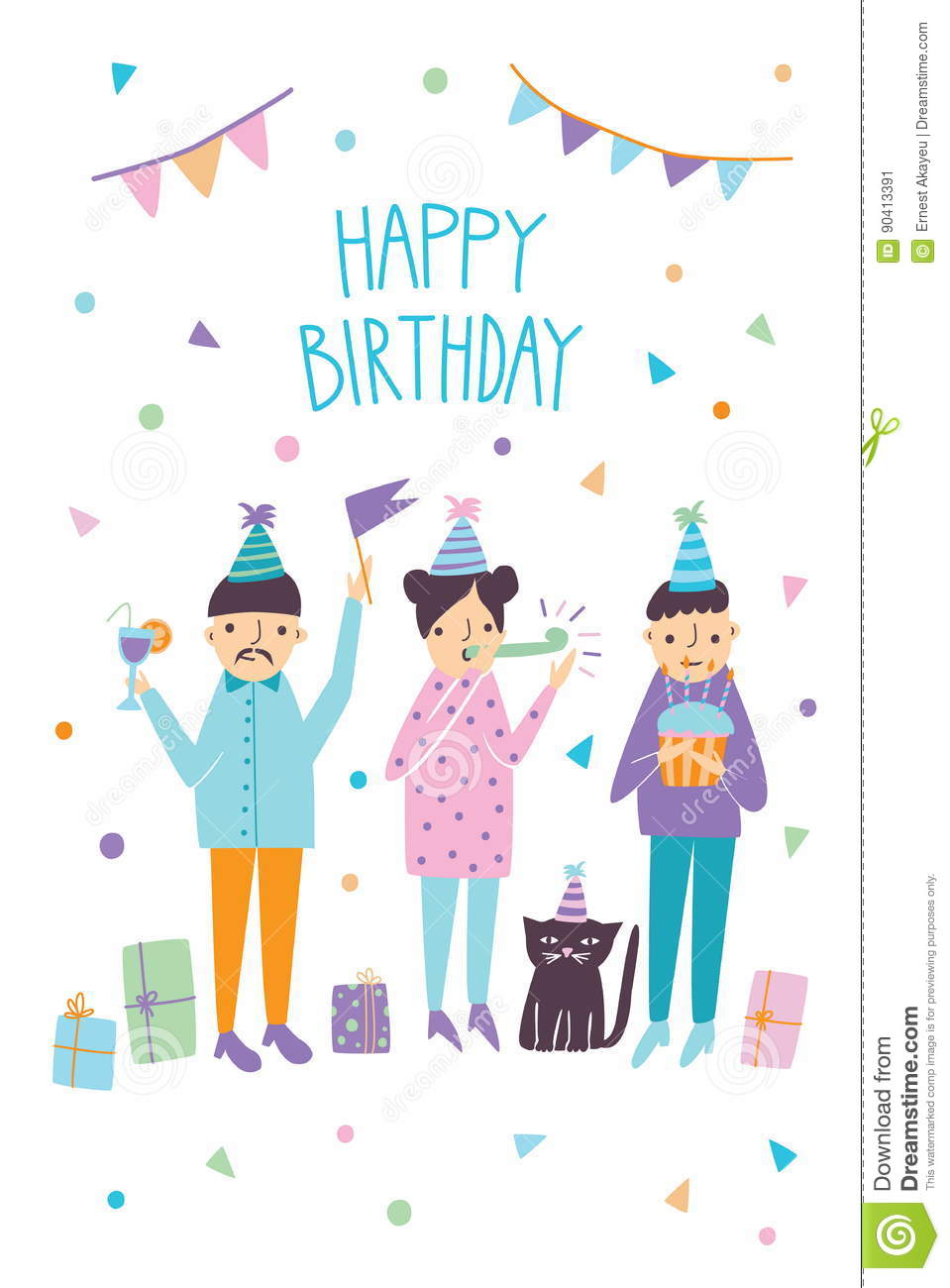 Happy Birthday Card With Funny Guests And Cat Friends Greetings