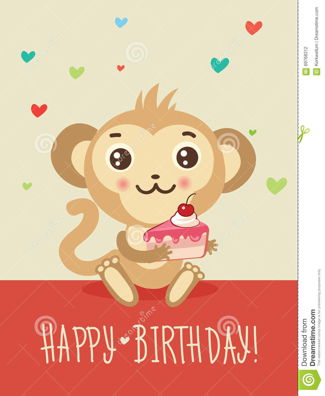 Happy Birthday Card With Funny Monkey And Cake In His Hands Cute Cartoon Animal Vector Funky