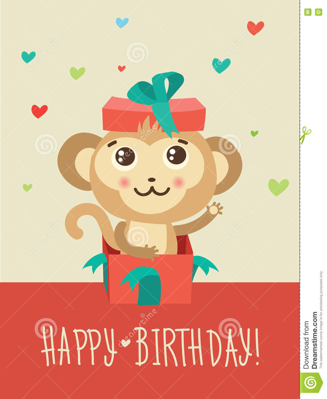 Happy Birthday Card With Funny Monkey Surprise In A Gift Box Funky Vector