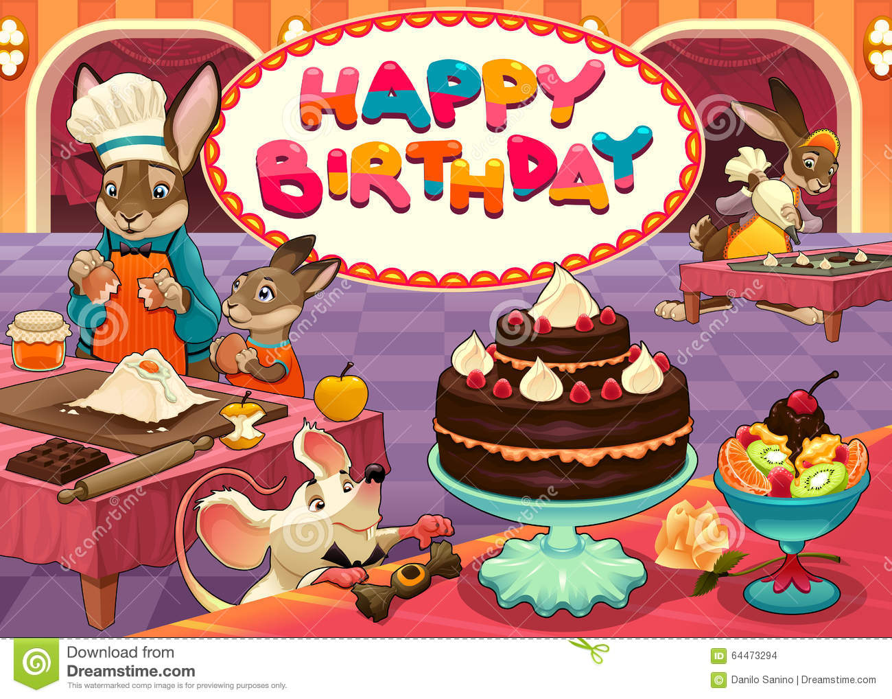 Happy Birthday Card With Funny Pastry Chef Animals Stock