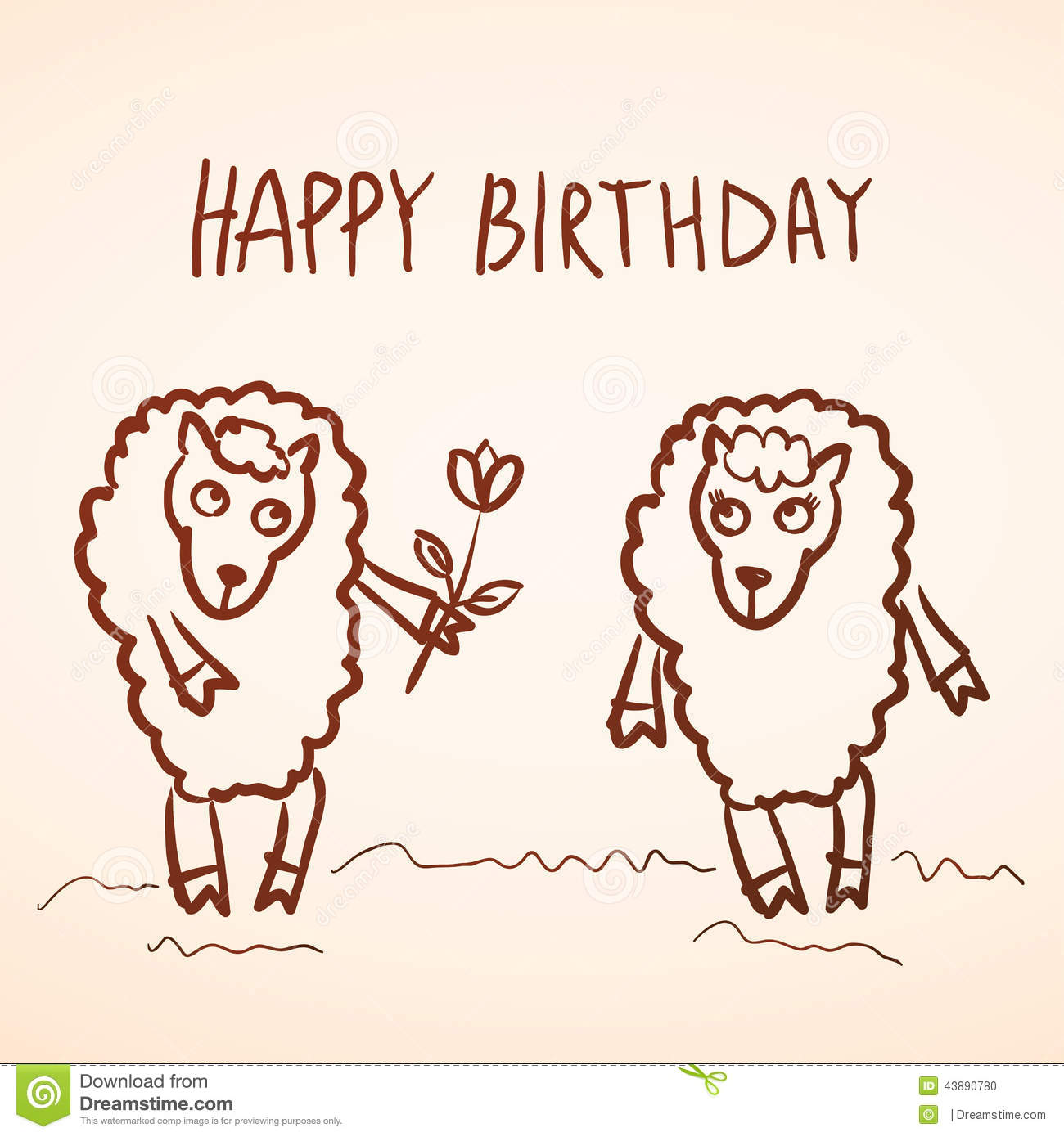 Happy Birthday Card Funny Sheep Girl And Boy With Stock Vector