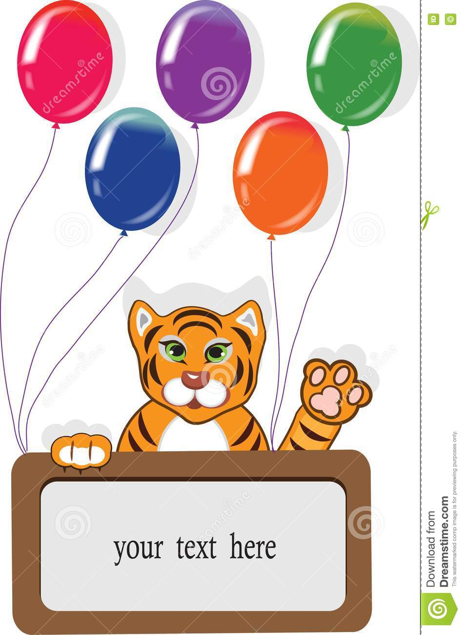 Happy Birthday Card With Funny Tiger And Balloons Royalty