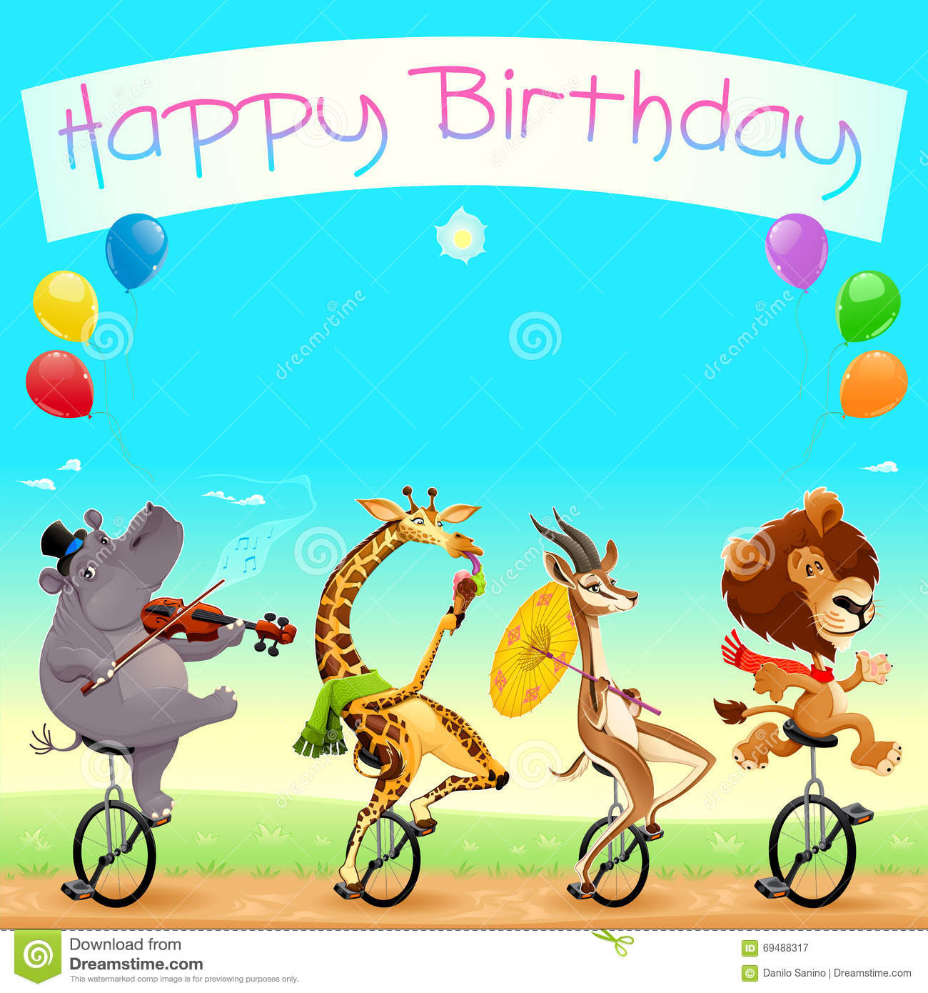 Happy Birthday Card With Funny Wild Animals On Unicycles