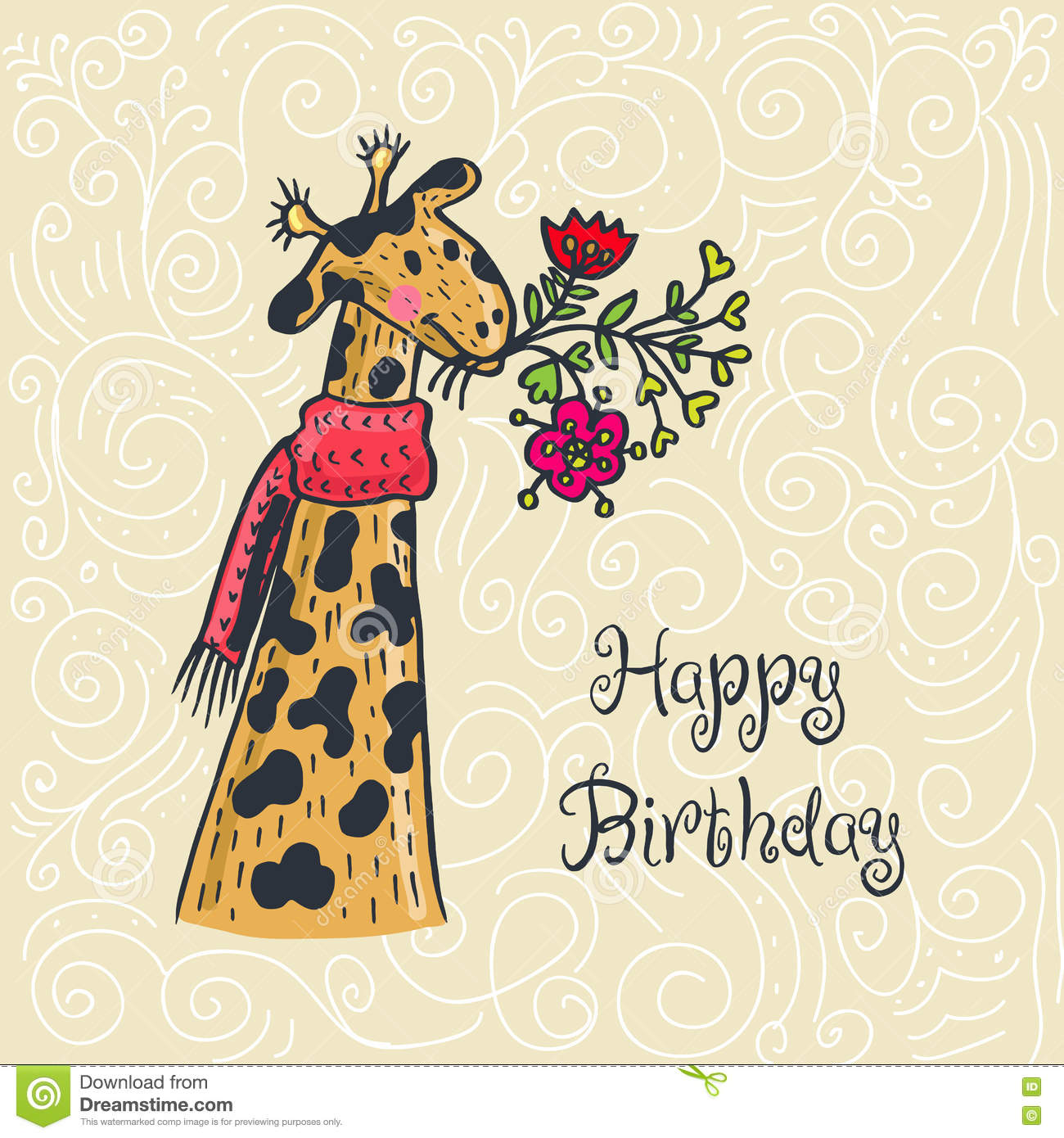 Happy Birthday Card With Giraffe Character And Flowers Stock