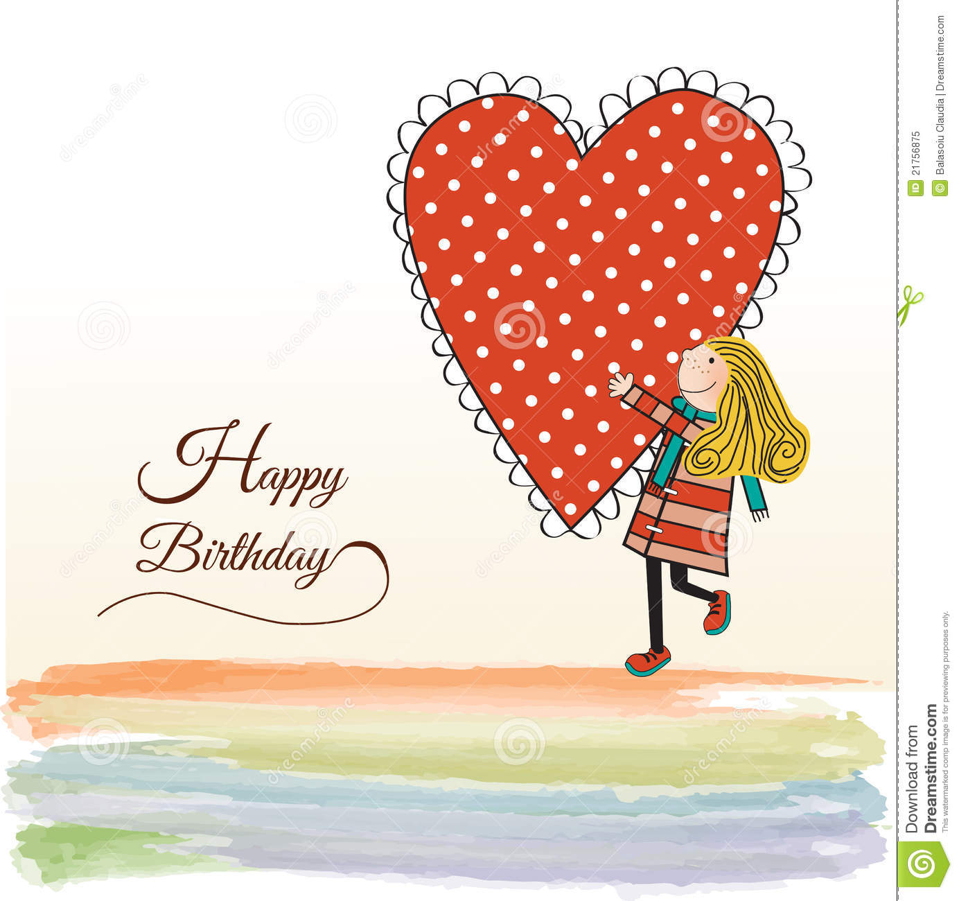 Birthday Card With Blonde Girl And Cupcake Royalty Free – Birthday Cards Girls