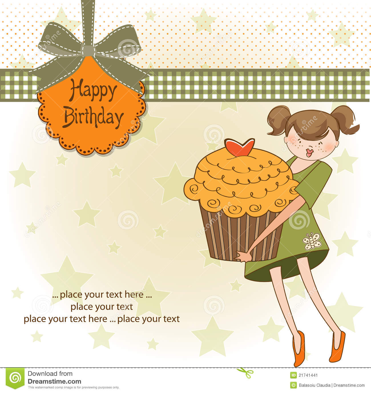 Happy Birthday Card With Girl And Cupcake Image Image – Birthday Cards for Girl