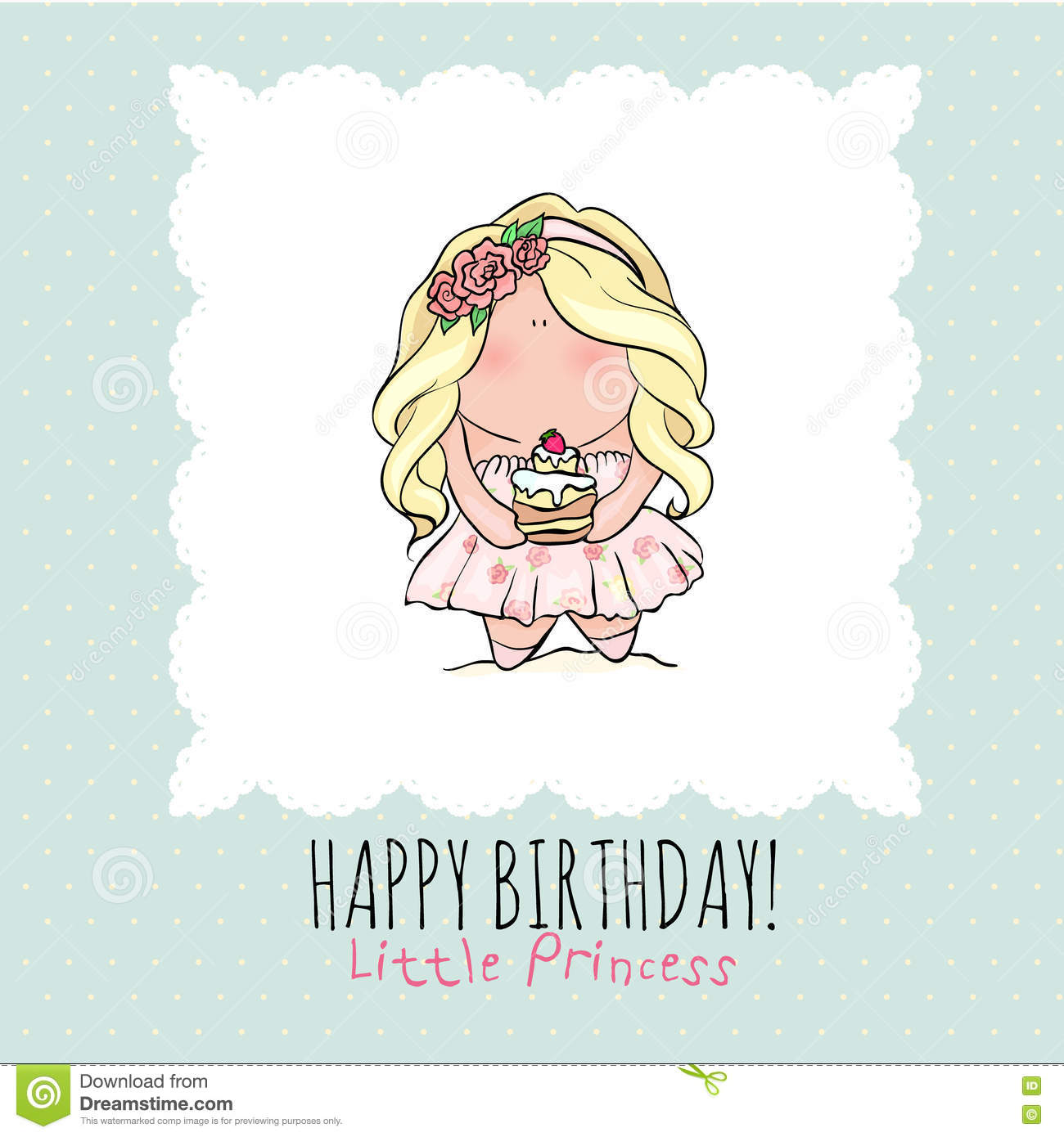 Happy Birthday Card For Girl Cute Little Girl Doodle – Doodle Birthday Card