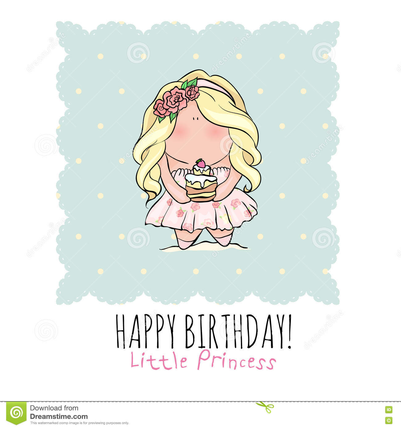 Happy Birthday Card For Girl Cute Little Girl Doodle – Happy Birthday Card for Little Girl