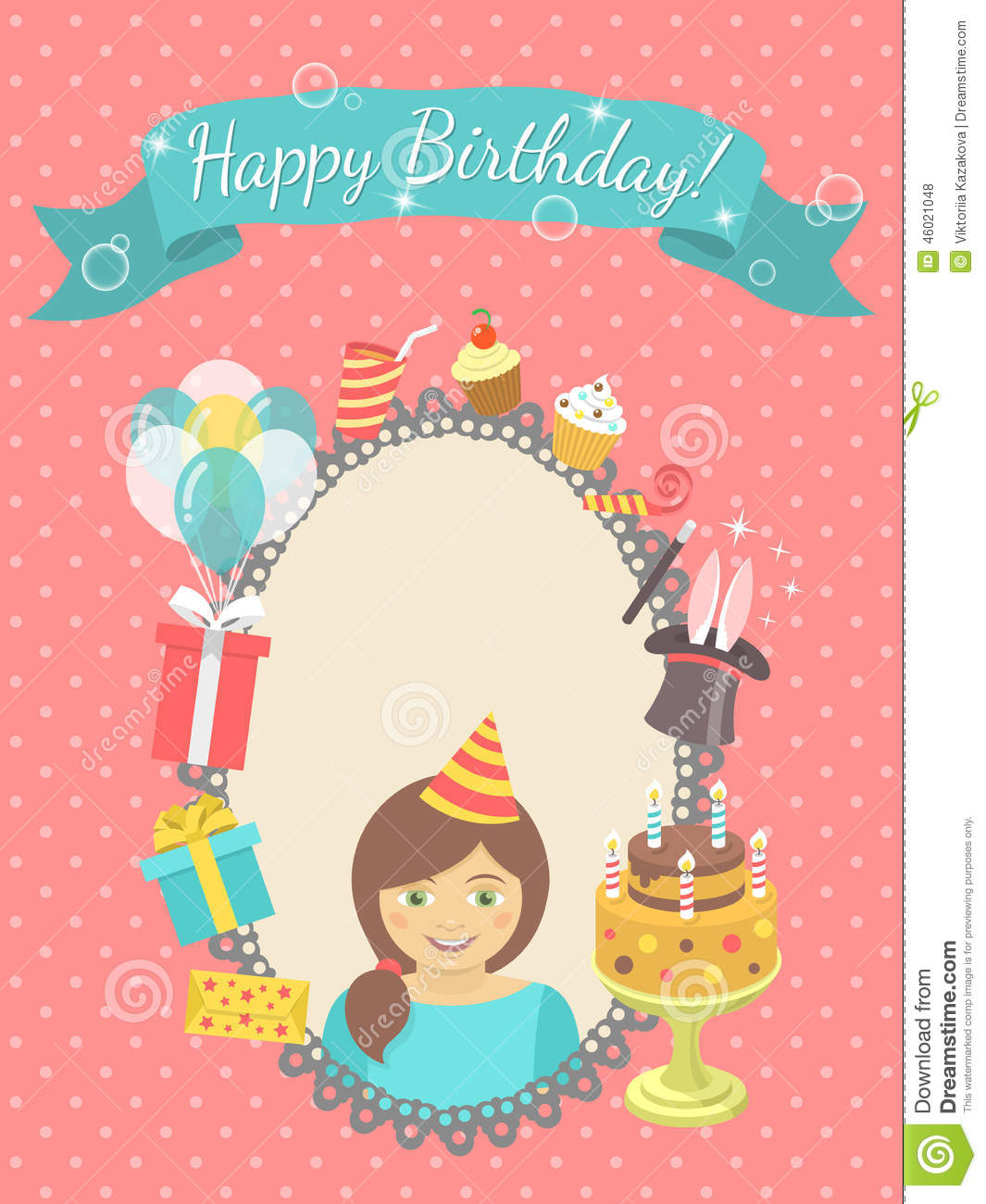 Happy Birthday Card For Girl Stock Vector Illustration Of Colorful