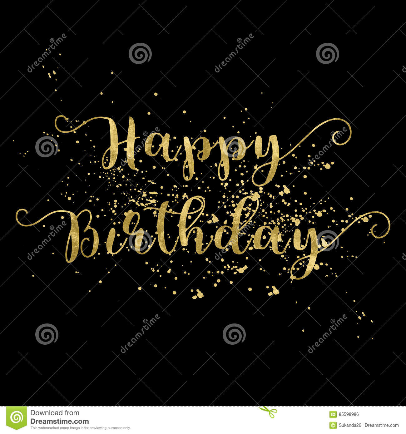 Happy Birthday Card Gold Words On Black Background Stock