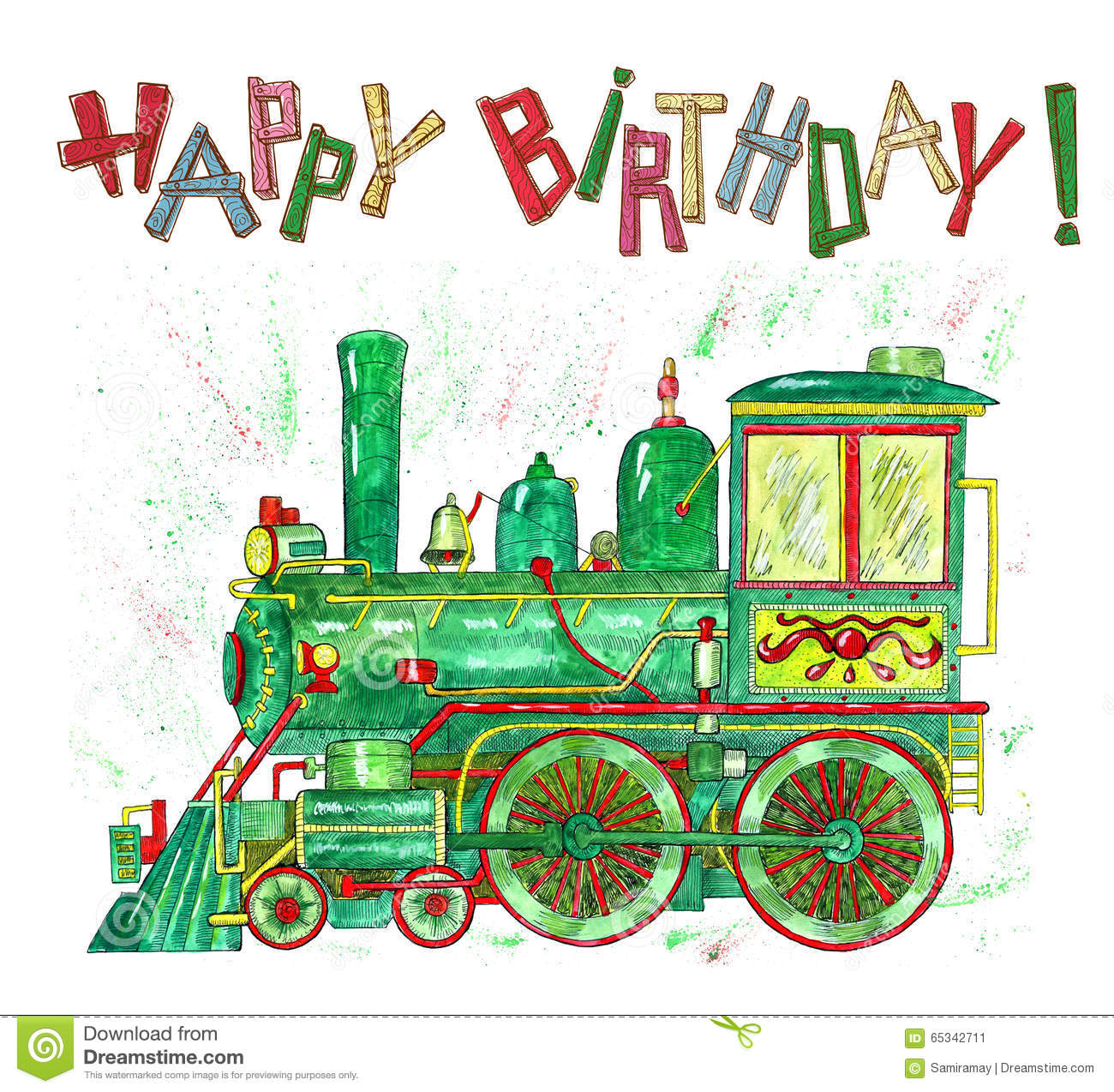 Happy Birthday Card With Green Train For Kids Stock Illustration
