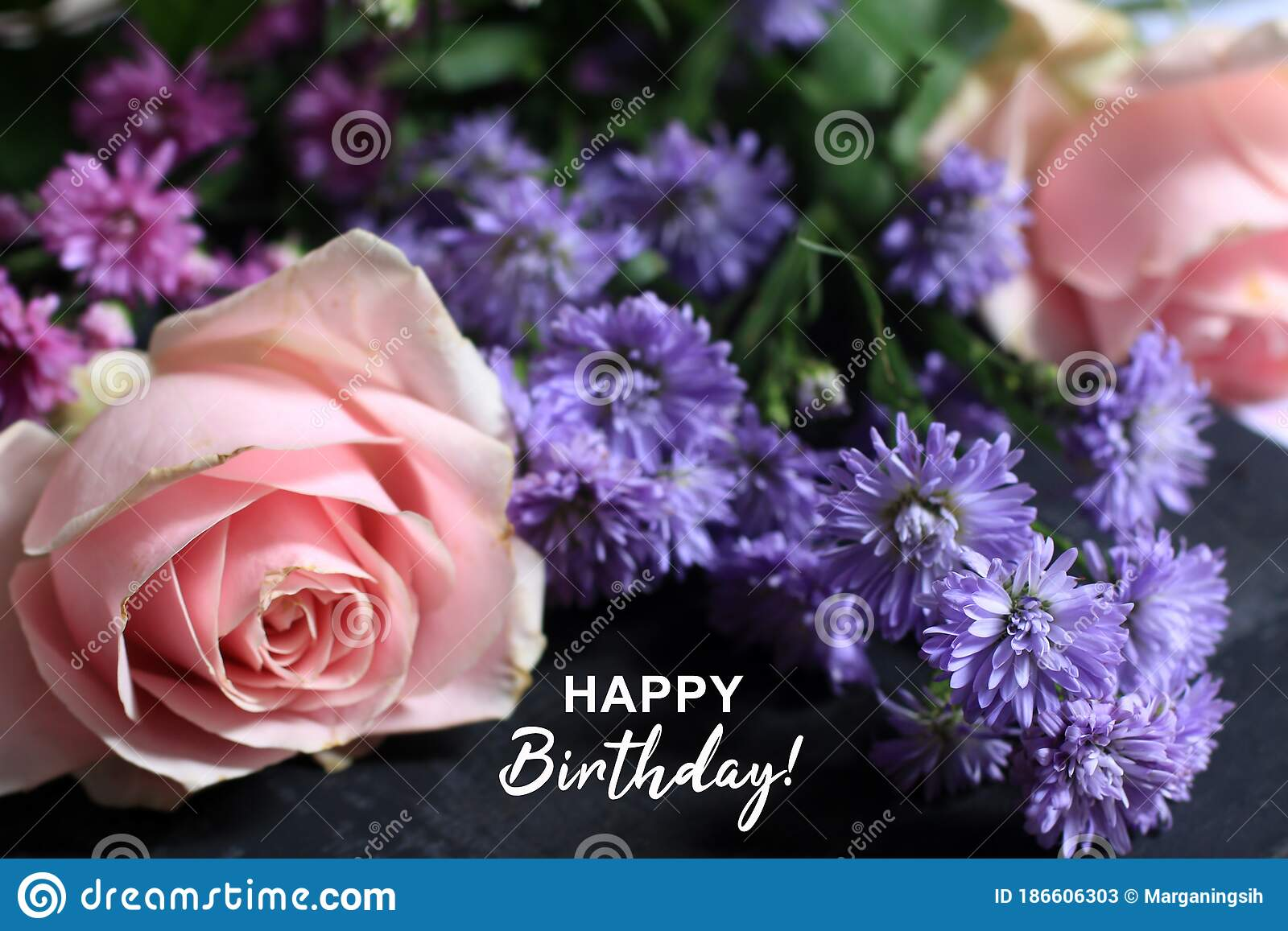 2 634 Rose Bouquet Text Happy Birthday Photos Free Royalty Free Stock Photos From Dreamstime