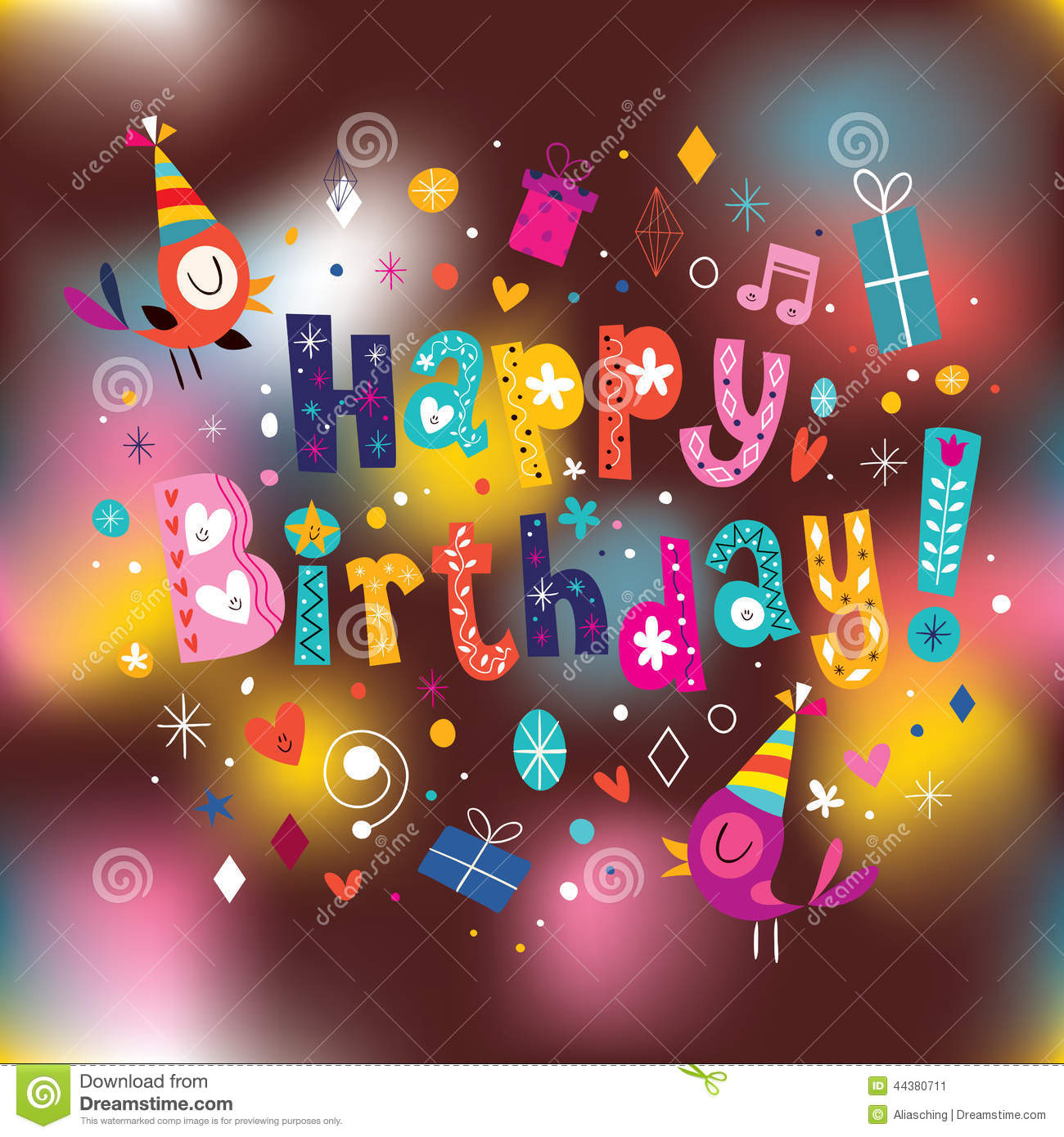 Happy Birthday Card Stock Vector Illustration Of Blurred 44380711
