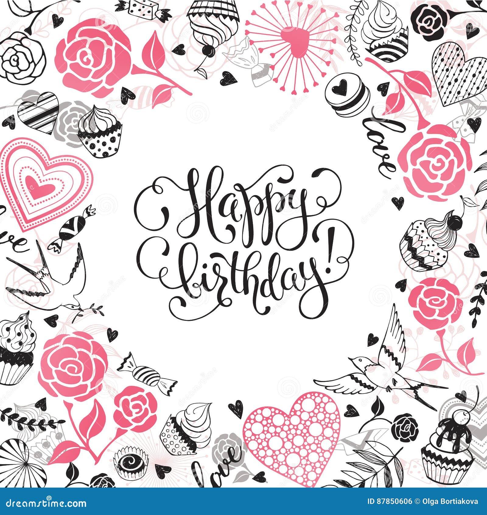 Happy birthday card stock vector  Illustration of decoration