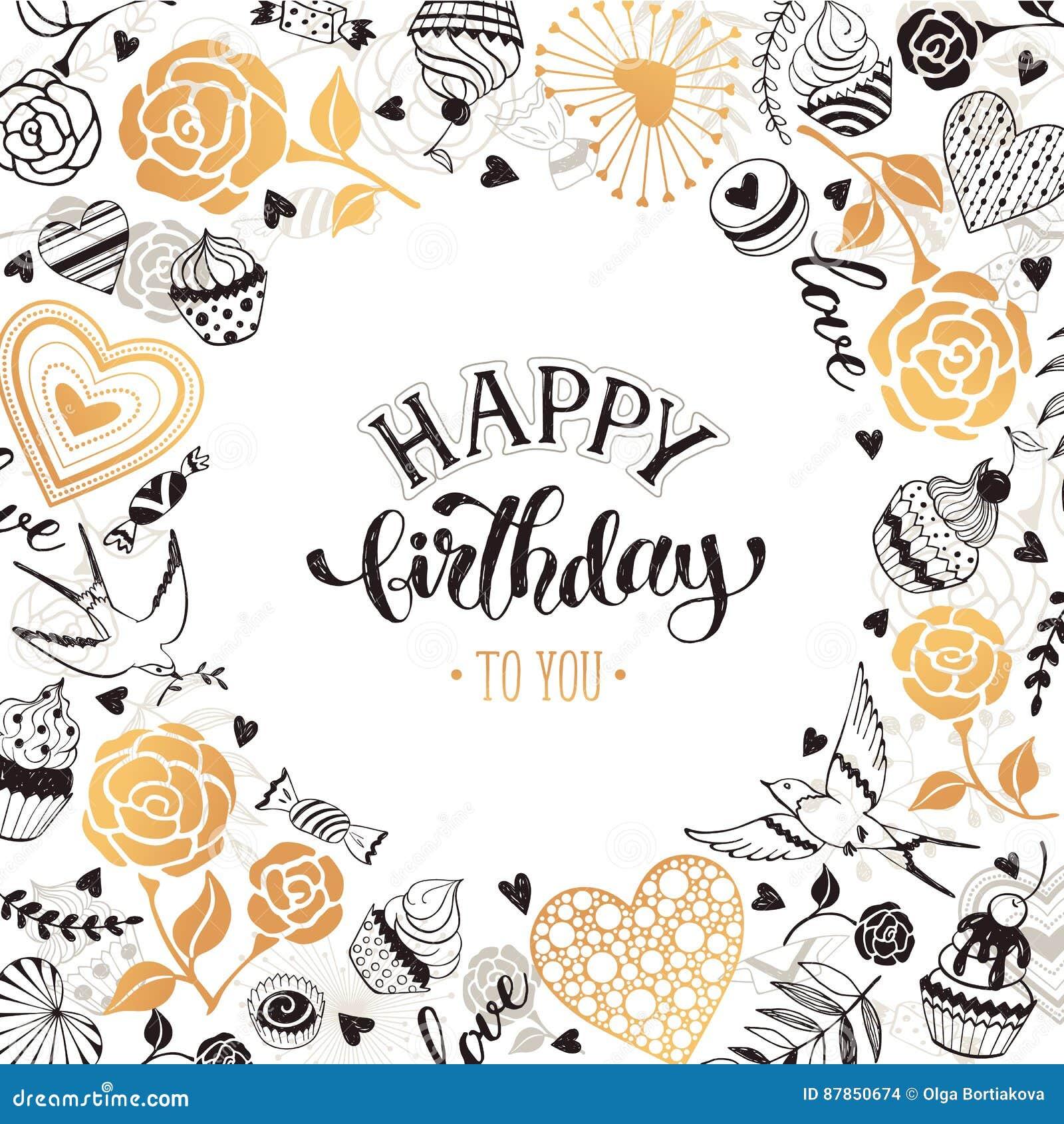 Happy birthday card stock vector  Illustration of cute