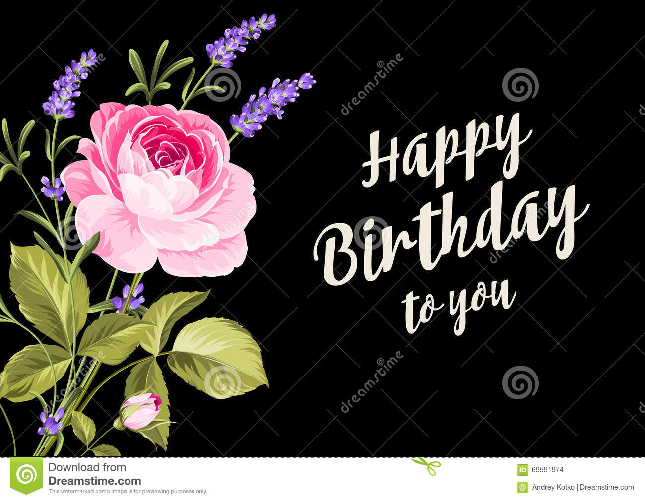 Happy Birthday Card Stock Vector Illustration Of Bunch 69591974