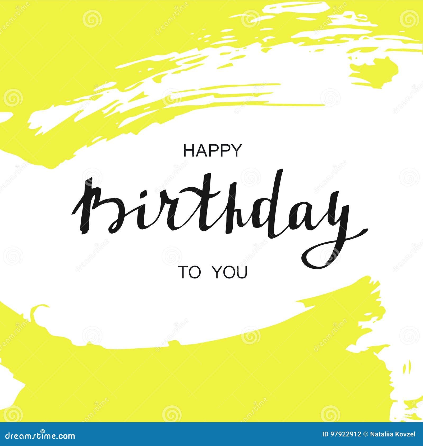 Happy Birthday Card. Handwritten Text On Abstract Yellow