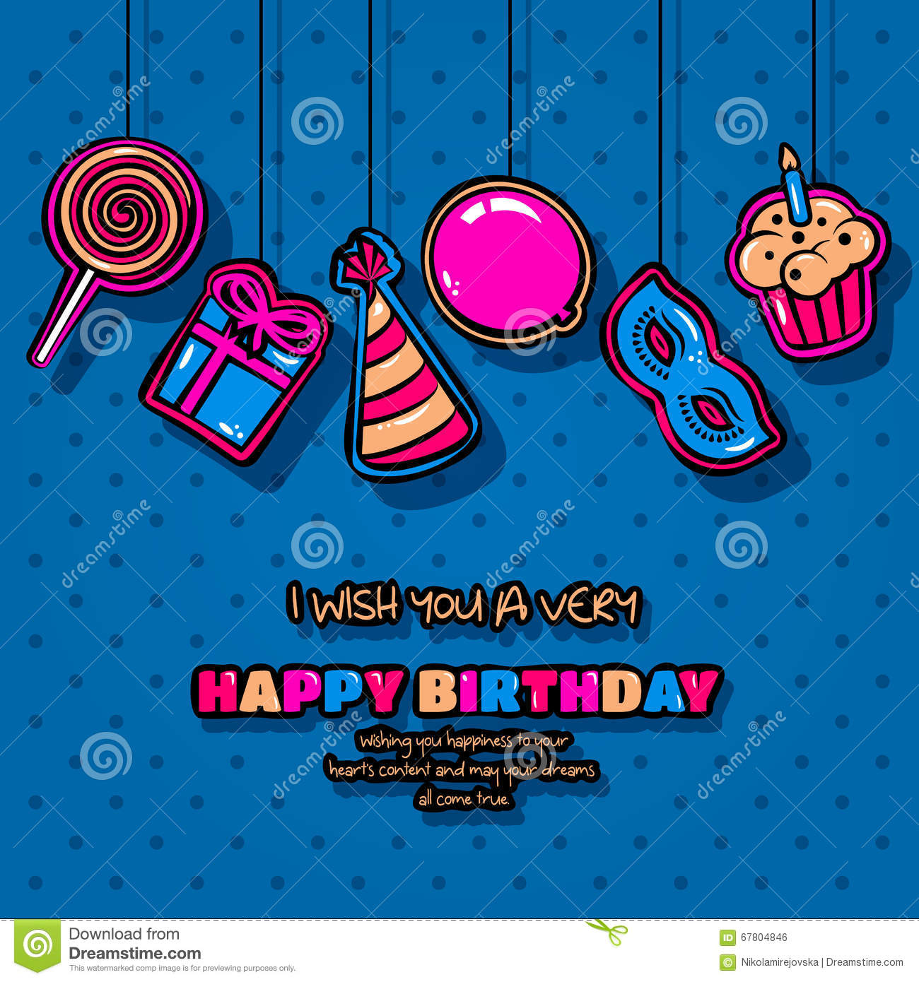 Happy Birthday Card With Hanging Items Balloon Cake Hat Lollipop